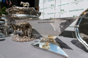 Photo: AP Photo/Richard Drew Photo of the Belmont Stakes and Triple Crown trophies